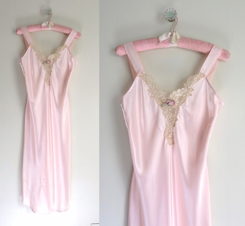 Vintage 80s Pink Satin Gown Nightgown S/M image 0