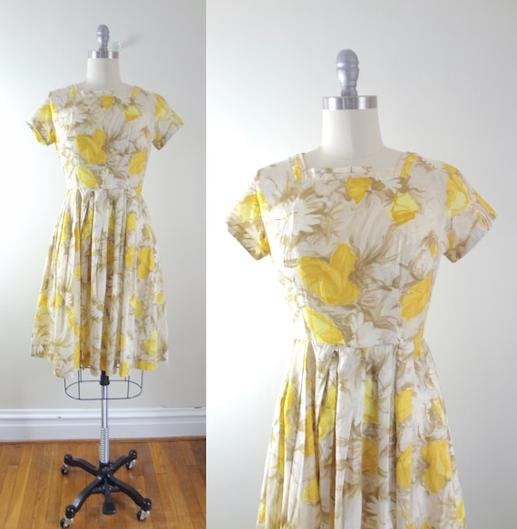 1950s Yellow Cotton Floral Poppies Dress