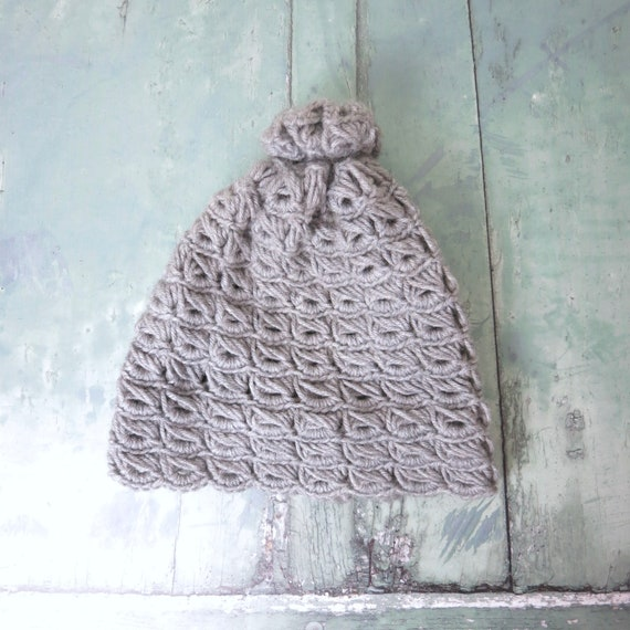 Vintage Gray Hand Knit Chunky Winter Beanie Hat