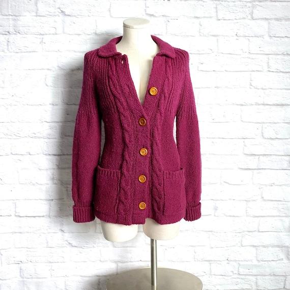 Vintage 70s Burgundy Knit Cardigan S - Knit Wine C