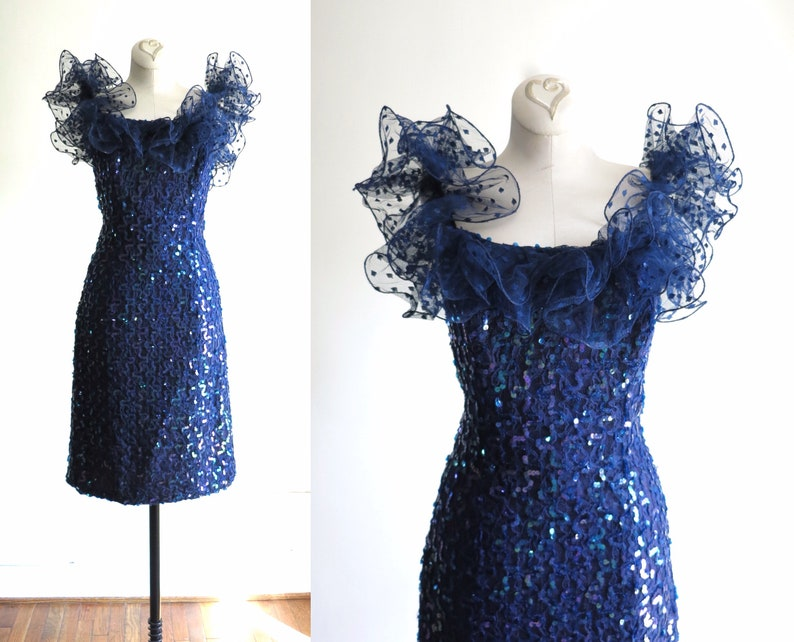 80s Party Dress XS  1980s Blue Sequin Ruffle Shoulder Prom image 0