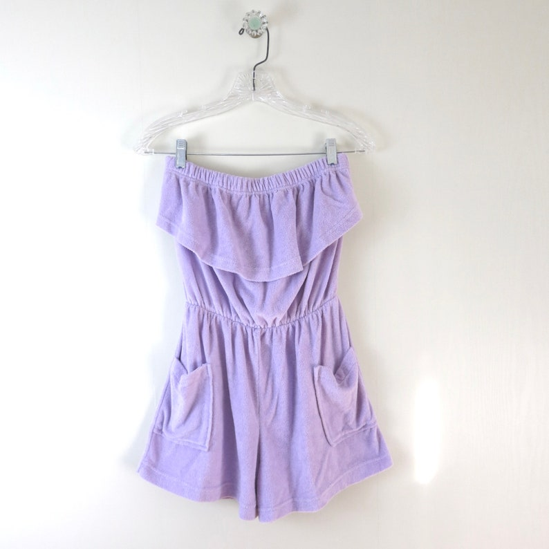 Vintage 1970s Lilac Terrycloth Romper M image 0