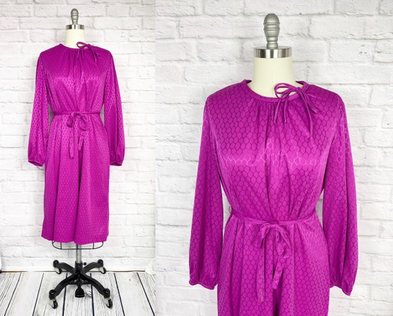 Vintage 70s Fuchsia Dress 2X