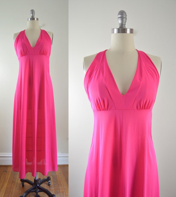 Pink Maxi Gown M | 1970s Pink Halter Maxi Gown Nig