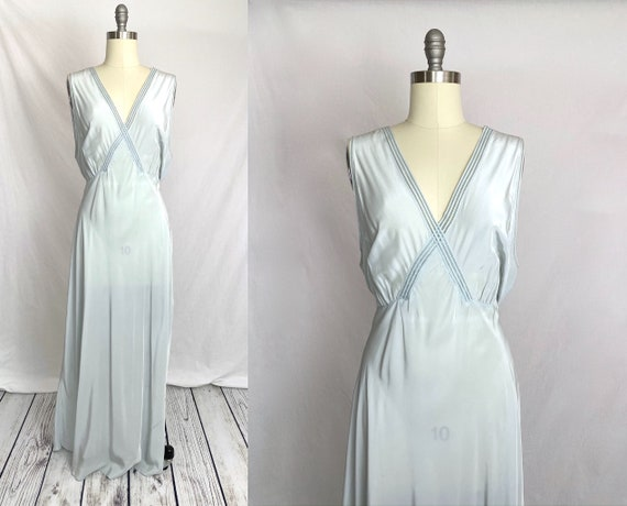 1930s Blue Rayon Nightgown XL