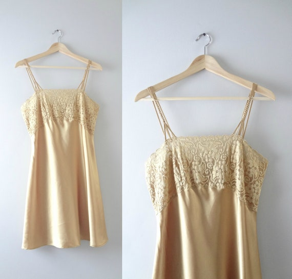 Modern | Gold Satin Lace Bust Slip Dress M
