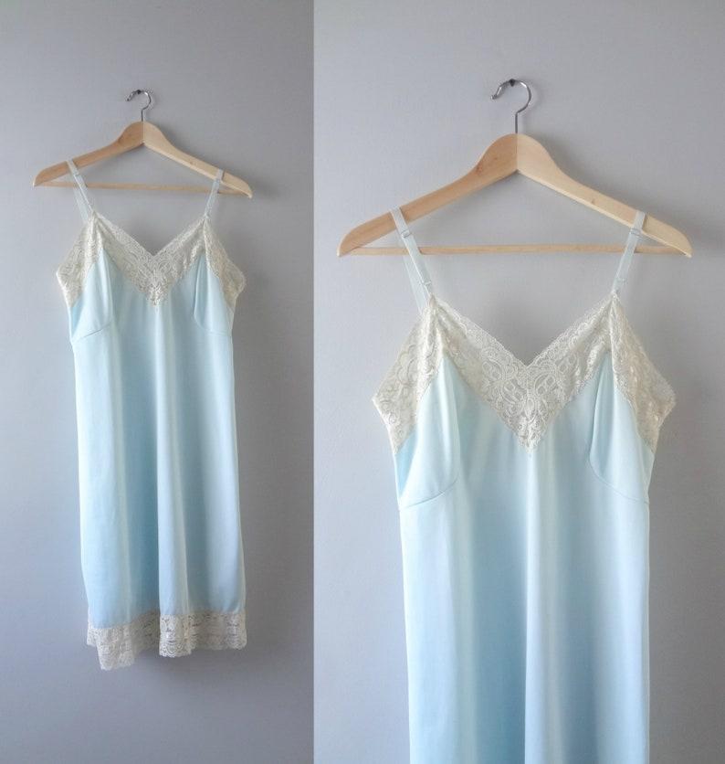 PALE BLUE shiny SATIN white lace waist HALF SLIP petticoat 4 lengths 6 sizes