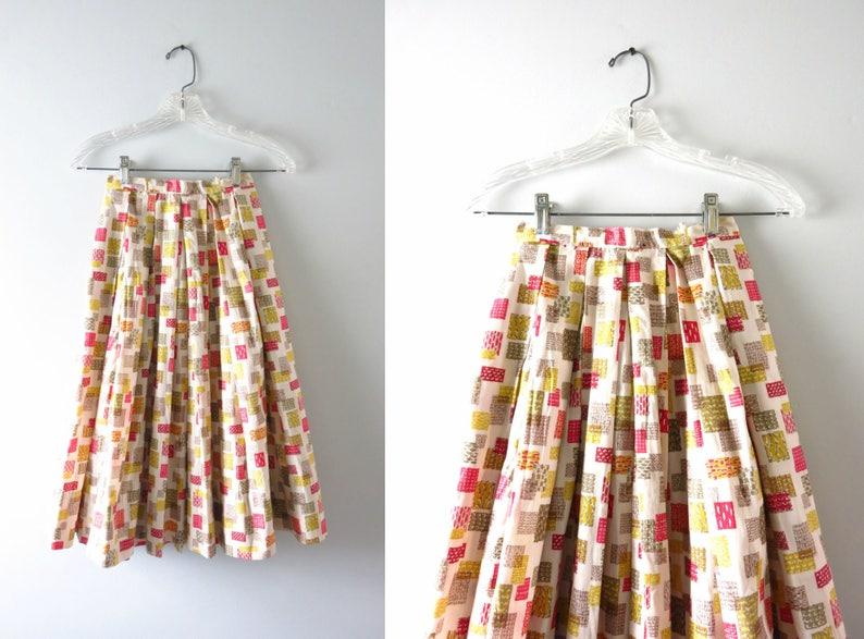 Vintage Swing Skirt  1950s Full Pleated Cotton Print Swing image 0