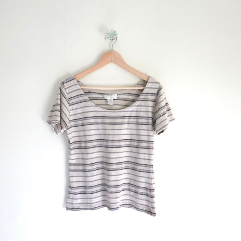 Vintage 90s EXPRESS Tricot Striped Tee image 0