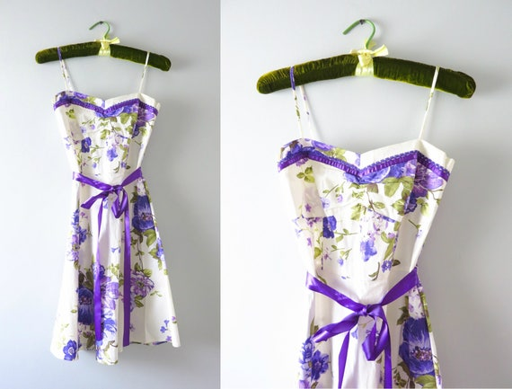 Vintage Cotton Sundress | 90s White & Purple Flowe