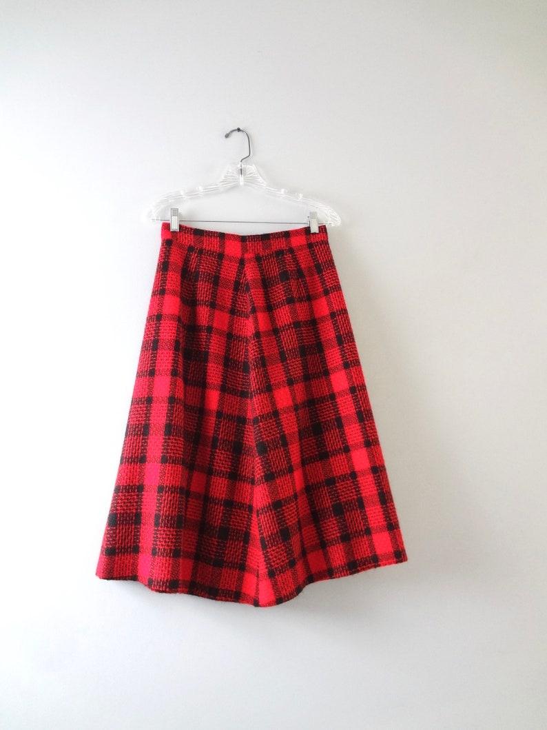 Vintage Red Plaid Skirt M  1970s Red & Black Plaid A-Line image 0