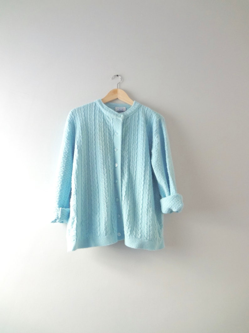 Blue Cardigan 2XL  1960s Wintuk Soft Blue Knit Cardigan image 0