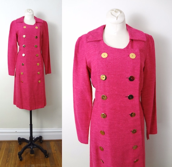 Vintage Pink Coat M | 1980s Double Breasted Ruby P