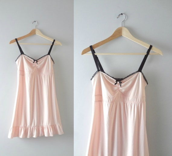 Modern | Pink Slip Dress M | Cosabella Amore Blush Pink Ruffled Hem Babydoll Slip Dress
