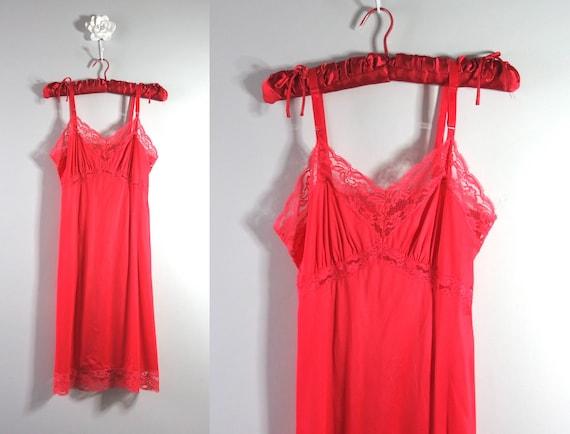 1960s Artemis Red Nylon Slip Dress Red Slip Dress L