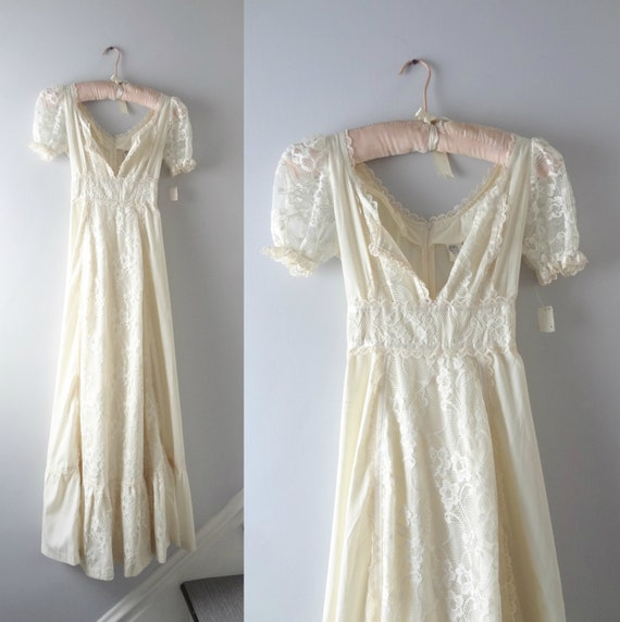1970s Ivory Lace Maxi Dress S Deadstock