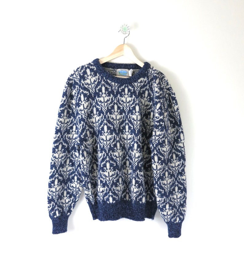 Vintage Mens Sweater XL  1980s Wool Blend Knit Crewneck image 0