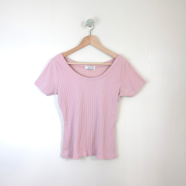 Vintage 90s EXPRESS Tricot Ribbed Dusty Rose Tee M image 0