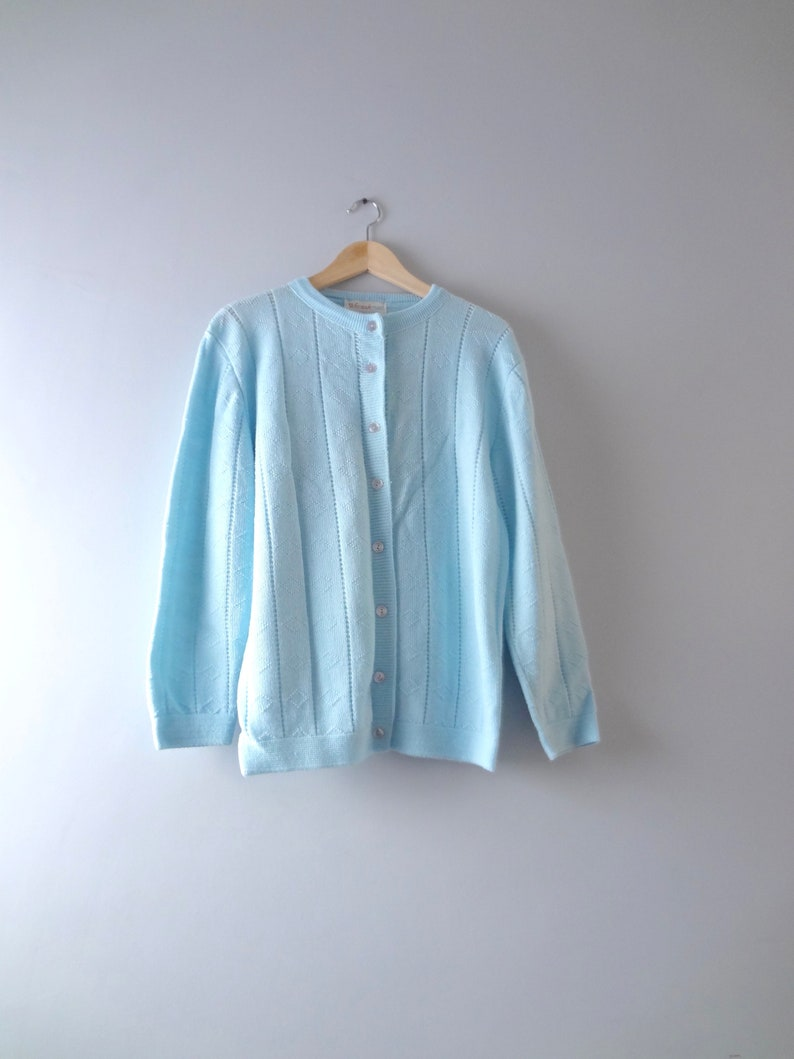 60s Blue Cardigan XL  1960s Wintuk Icy Blue Knit Cardigan image 0