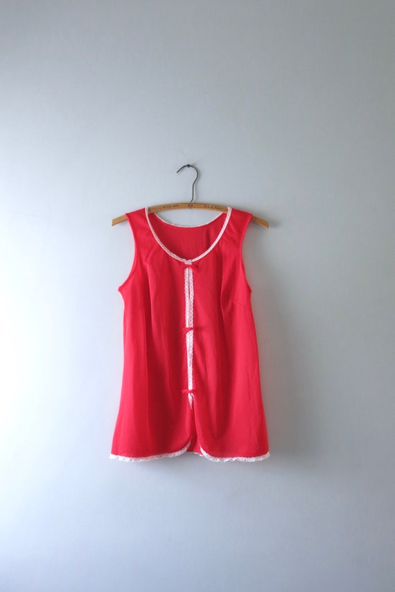 Red Babydoll Top XS | 1960s Red Nylon Babydoll Nig