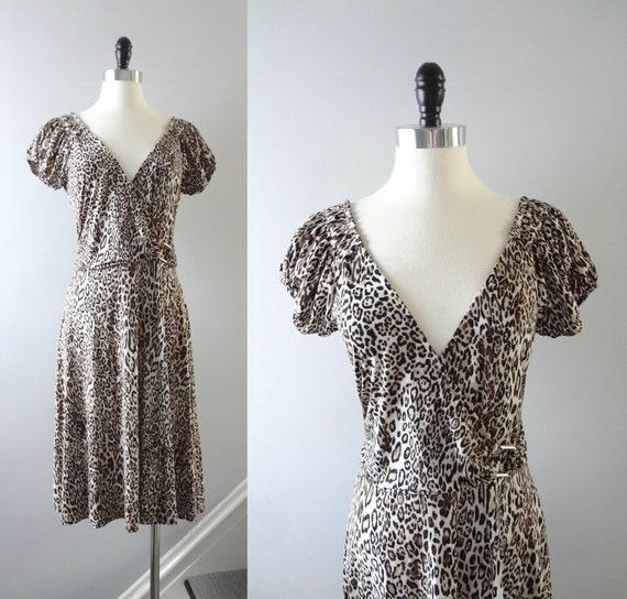 Modern | Leopard Print Faux Wrap V Plunge Dress Size M