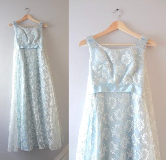 Blue Wedding Dress XXS | 1960s Pale Blue Lace Brid