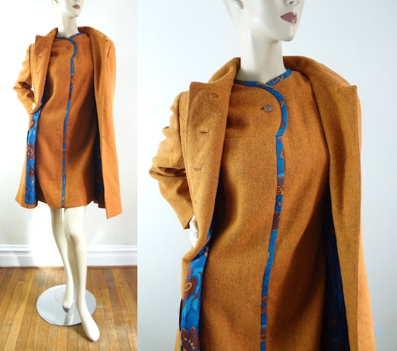 60s Vera Maxwell Dress Set M | 1960s Mod Brown Wool A Line Dress & Jacket Set