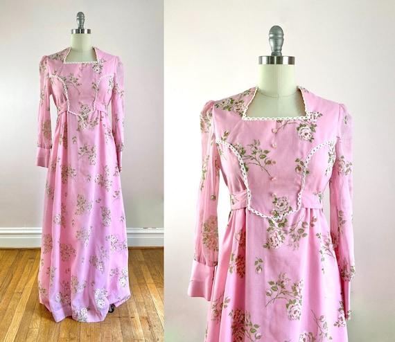 1970s Pink Floral Boho Maxi Dress M