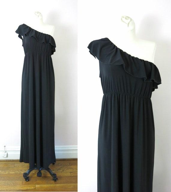 Vintage 70s Black One Shoulder Ruffle Dress