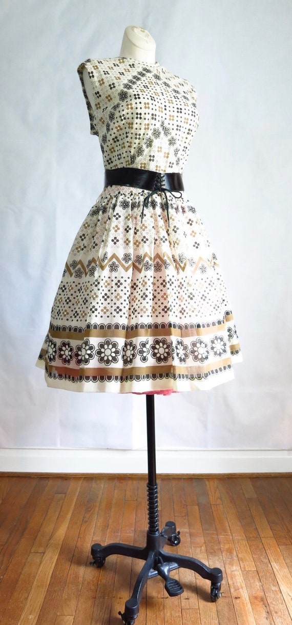 Vintage 60s Summer Day Dress M Deadstock - image 7
