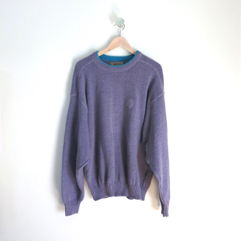 Vintage Mens Sweater L  1980s Crewneck Pull Over Sweater image 0