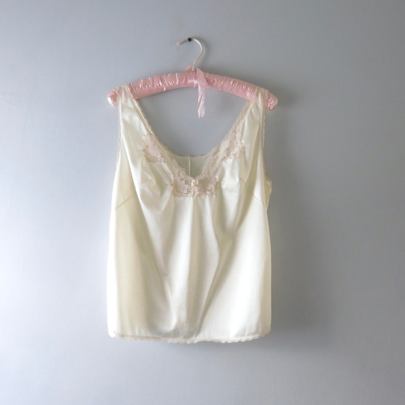Vintage Ivory Camisole L  1980s Ivory Nylon Camisole Cami Top image 0