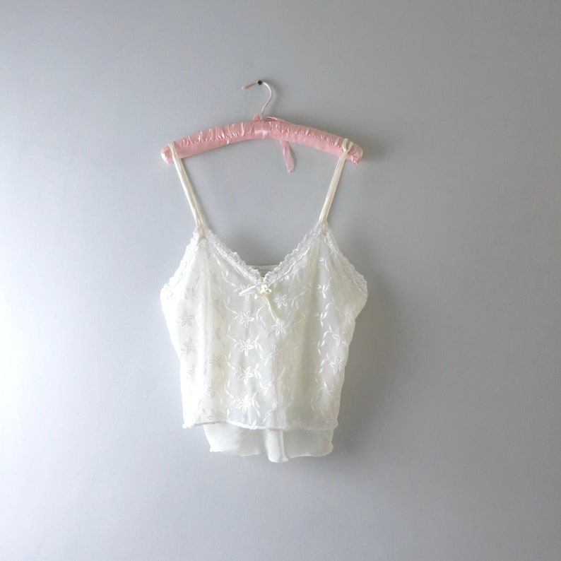 Ivory Cami Top M/L  1990s Ivory Chiffon Embroidered Cami Top image 0