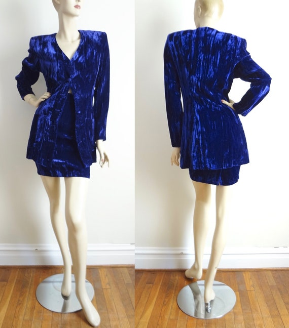 80s Crushed Purple Velvet Mini Skirt Suit XS