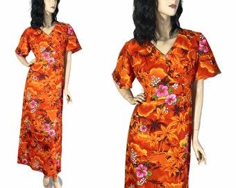 70s Orange Floral Hawaiian Maxi Dress