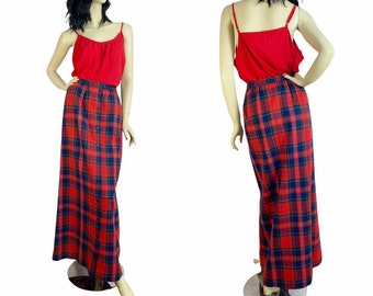 70s Pendleton Plaid Wool Maxi Skirt