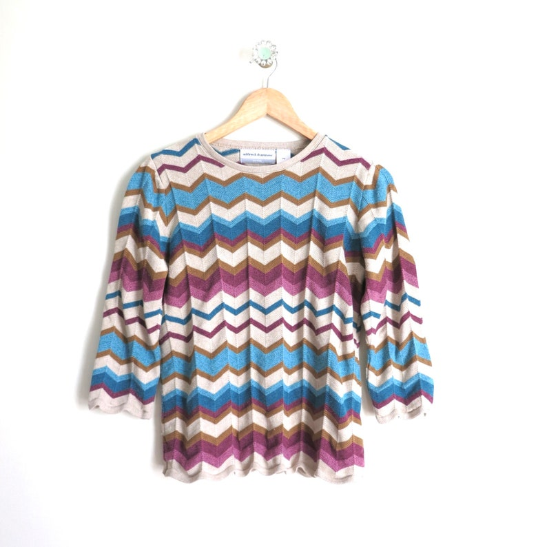 90s Sweater M  1990s Alfred Dunner Chevron Print Sweater image 0