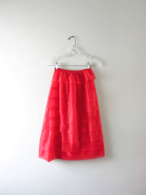 1960s Tiered Red Chiffon Petticoat Half Slip S
