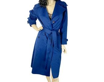 70s Dark Blue Trench Coat M