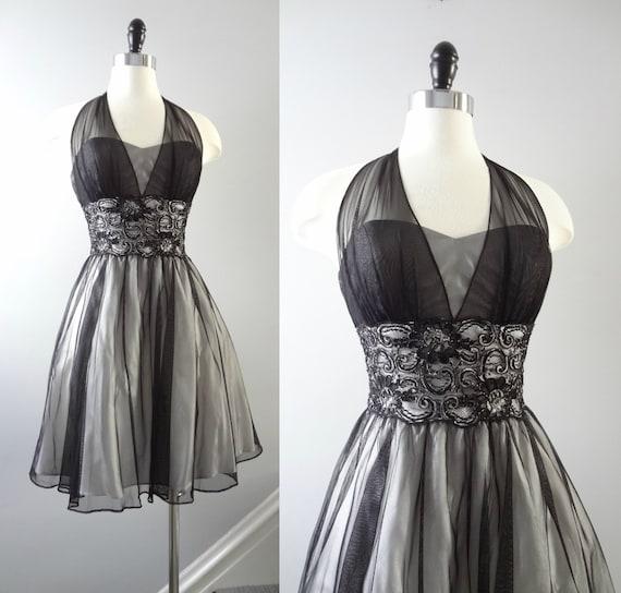 90s Party Dress XXS | 1990s Niki Livas Black Mesh