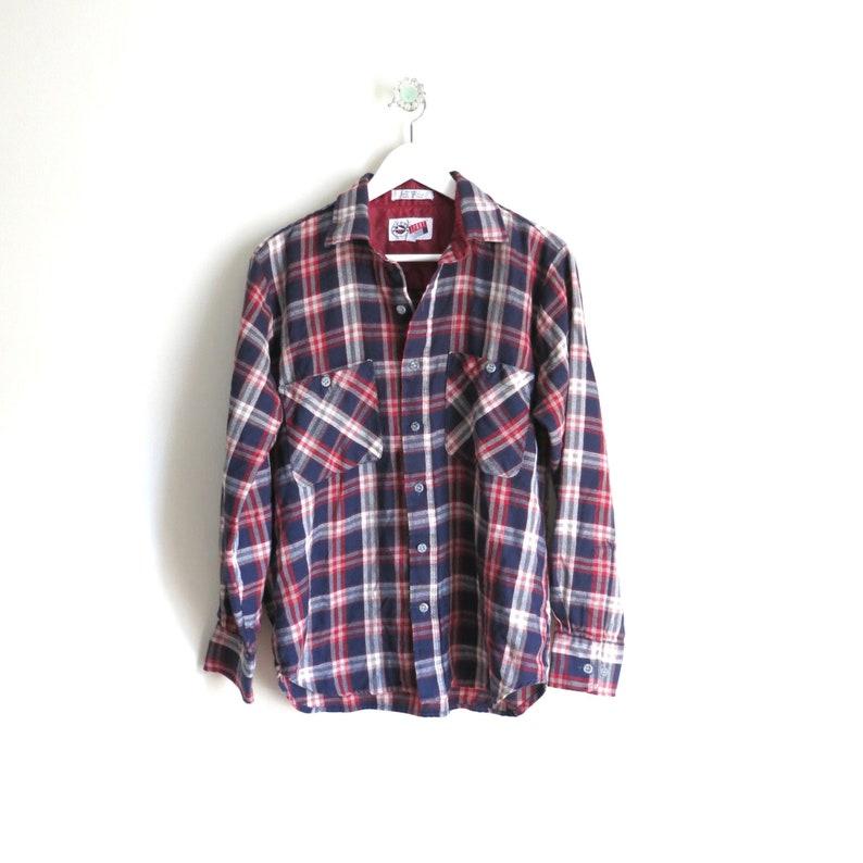 Vintage Flannel Shirt M  1980s Red White Blue Plaid Flannel image 0