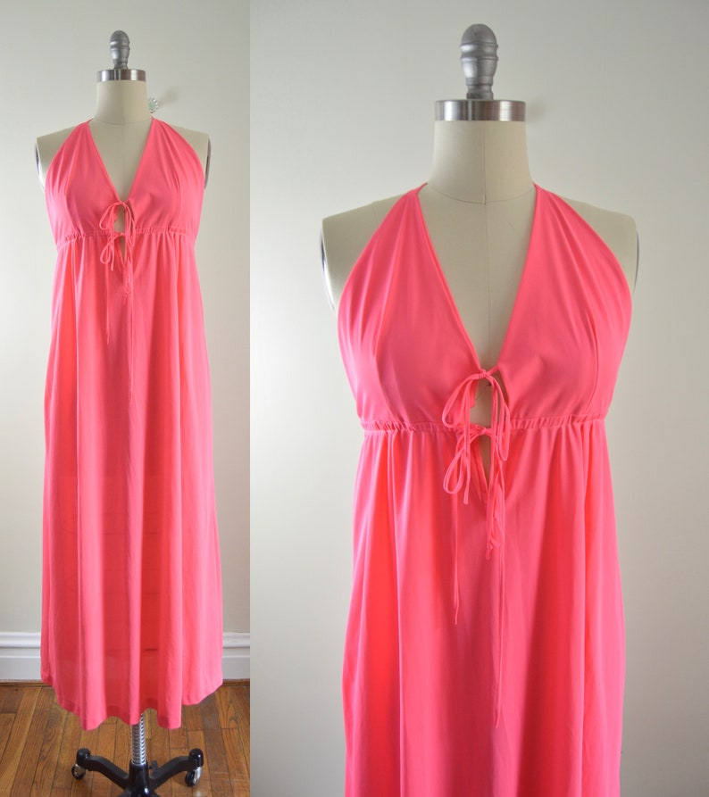 Jessica Maxi Gown M   1970s Coral Halter Maxi Nylon Gown image 0