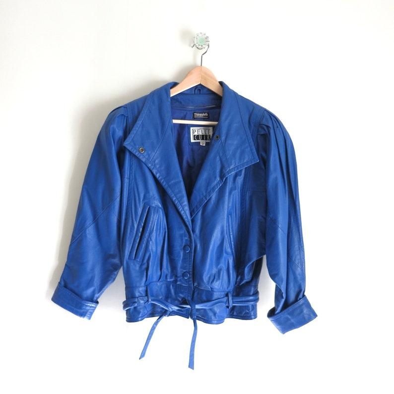 Vintage 80s Blue Leather Moto Jacket M image 0