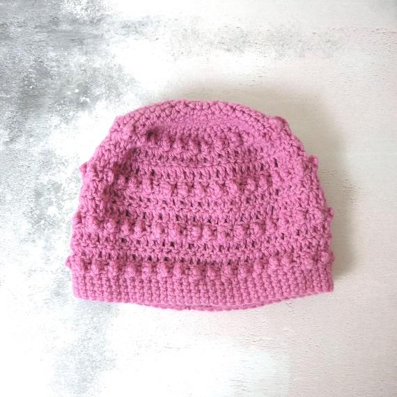 Vintage Pink Hand Knit Beanie Hat
