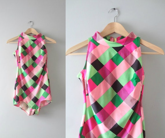 Vintage Bathing Suit M | 1970s Gotexx Pink & Green One Piece Bathing Suit