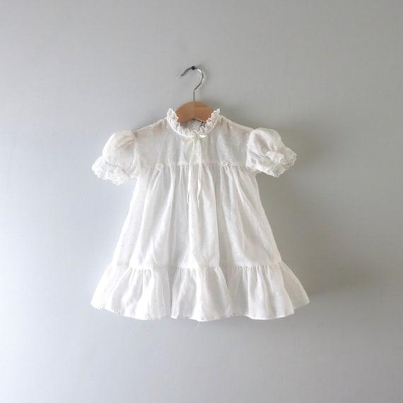 Vintage 1970s White Swiss Dot Childs Dress 18mos