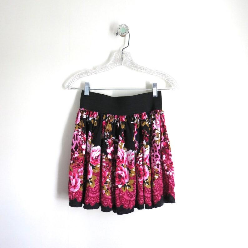 Vintage 90s Skirt S  1990s Body Electric Pink Floral Skater image 0