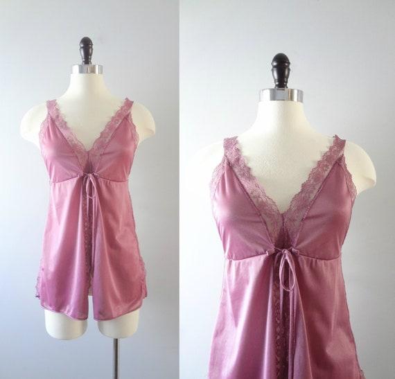 Vintage violet Babydoll S | des années 1970 ciel Magenta Babydoll Top | des années 70 pyjama Lingerie 34 buste