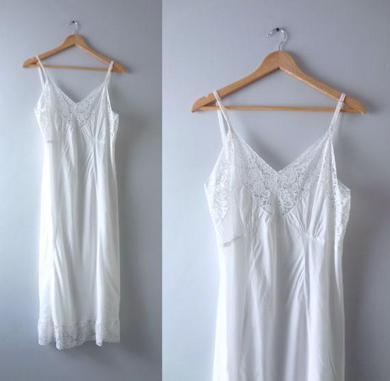 Vintage 1950s Soft White Rayon Slip Dress XL