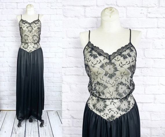 Vintage 80s Lace Bodice Nightgown | Lace Nightie |